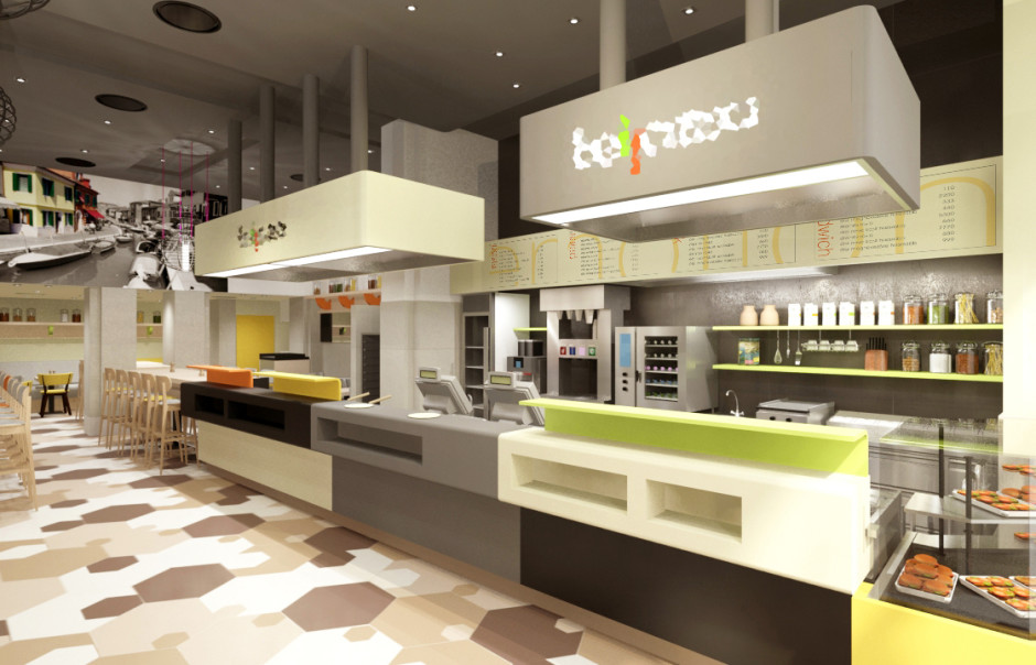 interior design concept of a fast food restaurant - Fast Food Store Design